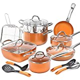 SHINEURI 19-Piece Copper Nonstick Cookware Set and Frying Pan Set & Deep Square Pan 5 Pieces Cookware Set Cooking Utensil - Dishwasher & Oven Safe, PFOA / PTFE Free (19 Piece - Copper)