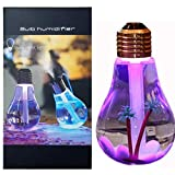 JM USB Portable Desktop Bulb Air Humidifier, Ultrasonic Humidifier with On/Off 7 Color Changing LED Night Lights, 400ml USB Portable Mist Air Humidifier for Home, Office, Bedroom, Baby Room