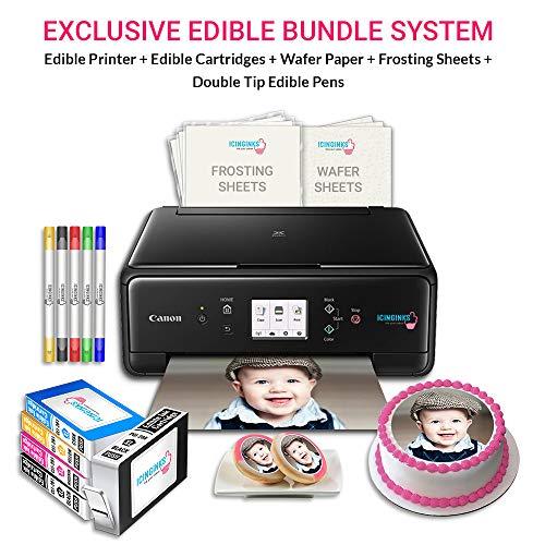 Icinginks Edible Printer Art Package - Comes With Edible Printer, Edible Cartridges, Wafer Paper, Frosting Sheets, Set of 5 Standard Tip Edible Markers - Best Cake Image Printer, Canon Edible Printer