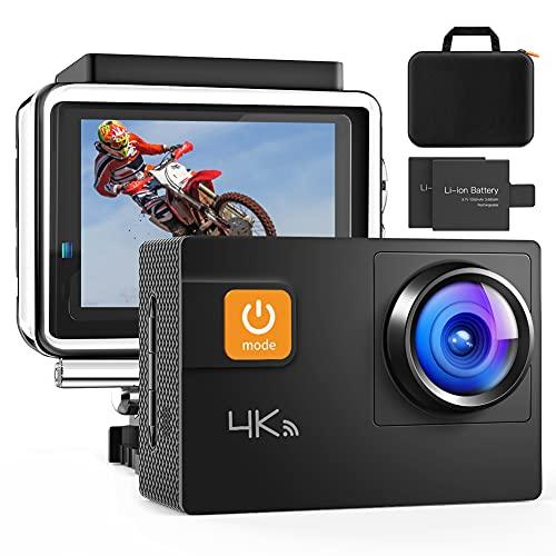 Action Cam, 4K/60FPS Touch Screen Fotocamera 20MP WiFi Ultra HD Videocamera Impermeabile a distanza 40M 8XZoom Fotocamera Subacquea Gyro Stabilizzazione Borsa Fotografica 2x1350mAh Batteria