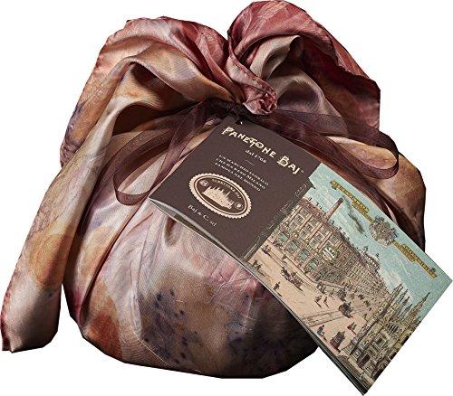 Panettone Baj 1 kg - Dal 1768 - Avvolto in foulard di seta di lusso stampato a mano in pezzi unici con foglie vegetali