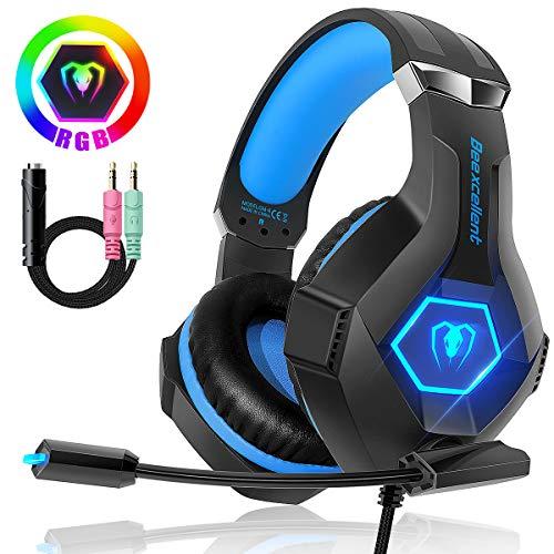Beexcellent Gaming Headset für PC PS4 Xbox One, 7 Farbe RGB-LED Licht, Surround Sound Gaming Kopfhörer mit Mikrofon für Laptop Mac Handy Tablet