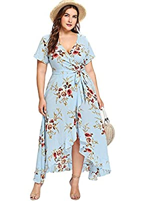 Material: 95% Polyester, 5% Spandex, Fabric has no stretch Feature: surplice v neck or wrap v neck, floral print or sequin, a line, ruffle hem, asymmetrical, belted, high waist Occasion: suitable for fall, summer, vacation, beach, casual outtings, pa...