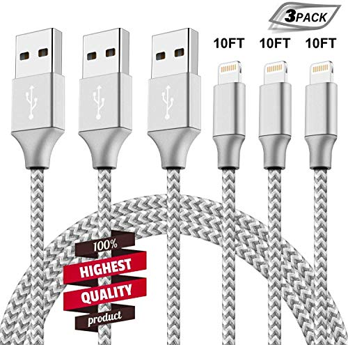 iPhone Charger 3Pack 10FT Mfi Certified Lightning Cables to USB Syncing Data and Nylon Braided Cord Charger for iPhone XS/Max/XR/X/8/6Plus/6S/7Plus/7/8Plus/SE/iPad and More