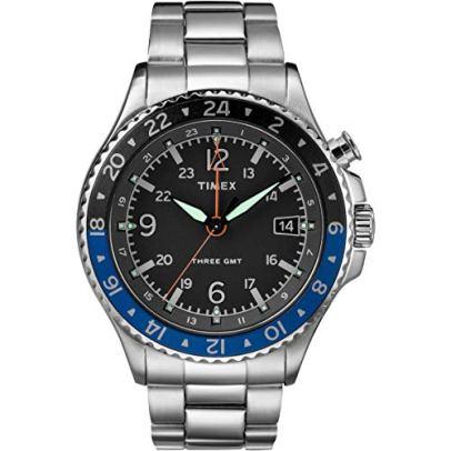 Timex Allied Three GMT Black Dial Stainless Steel Men's Watch TW2R43500