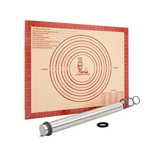 Nudelholz Edelstahl Teigroller mit Dicke-Verstellbares Ringe, Antihaft Teigrolle Rolling Pin, Backunterlage Silikon Backmatte 50x40cm Ausrollmatte Teigmatte Silikonmatte Teigunterlage für Fondant