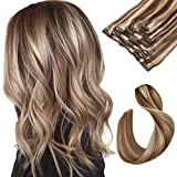 Clip in Hair Extensions Brown with Blonde Highlighted Human Hair Clip...