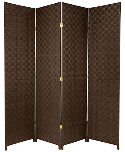 Oriental Furniture 6 ft. Tall Woven Fiber Outdoor All Weather Room Divider - 4 Panel - Dark Brown