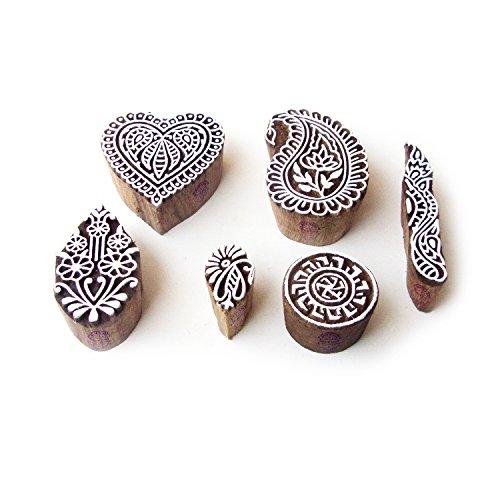 Royal Kraft Herz und Paisley Indisch Muster Hölzern Blöcke Stempel (Set von 6)