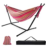 Double Hammock with Stand, 10ft Hammock Frame 550lbs Capacity, 2 People Hammock Combo for Backyard Patio Indoor Outdoor (Rose Pink Multi-Color Stripes)