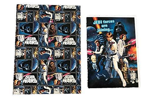 Tarjeta de Star Wars y papel de regalo