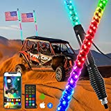 omotor 2pcs 4ft LED Spiral RGB Led Whip Light with Spring Base Chasing Light with Bluetooth and Remote Control Lighted Antenna Whips for Can-Am ATV UTV RZR Polaris Dune Buggy Offroad Truck
