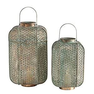 Richly luxurious, mysteriously elegant, The Moroccan Temple Lanterns, Set of 2, are ideal for setting the scene for magical candle lit evenings. Bask in the glow with your pillar, votive or, flameless LED candles inside them. Made by hand. Crafted of...