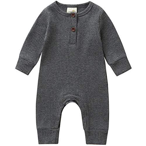 Kuriozud Newborn Infant Unisex Baby Boy Girl Button Solid Romper...