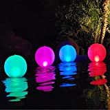 Esuper Floating Ball Pool Light Solar Powered 4 PCS, 14 Inch Inflatable Hangable IP68 Waterproof Rechargeable Color Changing Led Glow Globe Pool Night Lamp for Garden, Backyard,Pond, Party Decor