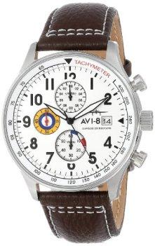 "AVI-8 Men's AV-4011-01 ""Hawker Hurricane"" Stainless Steel Watch with Leather Band"