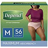 Depend FIT-FLEX Incontinence Underwear for Women, Disposable, Maximum Absorbency, M, Blush, 56 Count (2 Packs of 28) (Packaging May Vary)