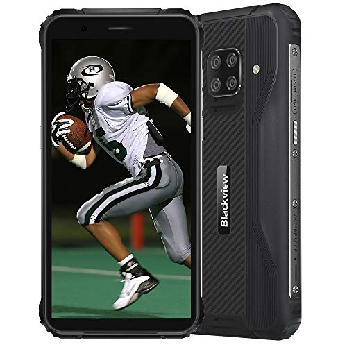 Blackview BV5100 Rugged 4G Smartphones IP68 Android 10, 4GB + 128GB, 16MP + 13MP Camera, Wireless Charging, Unlocked Mobile Phone, HD+ 5.7'', NFC FM Compass Black