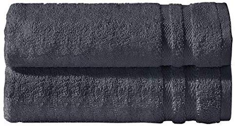 Indus Textiles - Juego de Toallas (100% algodón Egipcio, 600 g/m²), algodón, Gris Oscuro, 2 x Bath Sheets