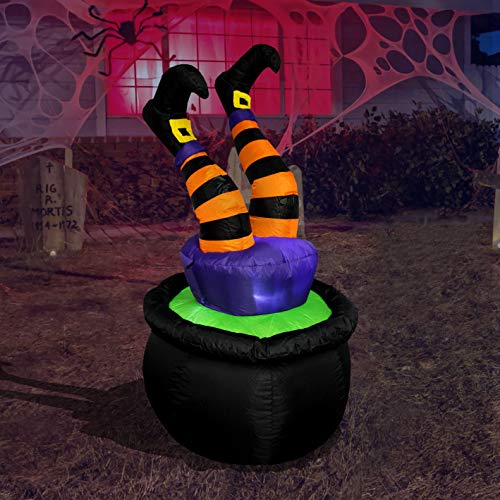 BZB Goods 4 Foot Tall Halloween Inflatable Witch Legs in Cauldron Pot LED Lights Decor Outdoor Indoor Holiday Decorations, Blow up Lighted Yard Decor, Lawn Inflatables Home Family Outside
