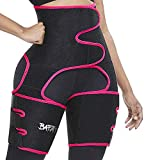 Waist Trainer for Women, 3 in 1 Neoprene Sweat Thigh Trimmer Butt Lifter (Red, L:fits Pants Size L-XL)