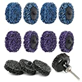 """LotFancy Stripping Disc, 12PCS 2"""" Easy Strip and Clean Quick Change Discs with 1 Disc Pad Holder, Paint and Rust Remover Stripper, Silicon Carbide Abrasive Wheel, Blue Black Purple Assortment"""