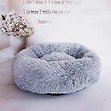 Loopunk Rond en Peluche pour Animal Domestique Nest Deep Sleep Pet Matelas épais Chaud Chien Lit Litière pour Chat Convient pour Chiots Chaton Petits Animaux(White 50CM)