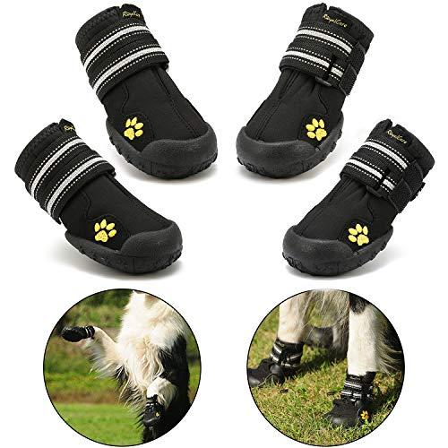 Royalcare Hundeschuhe Pfotenschutz, wasserdicht mit Anti-rutsch Sole passend für mittlere und große Hunde, schwarz (Updated 8# (2.95'x3.5'))