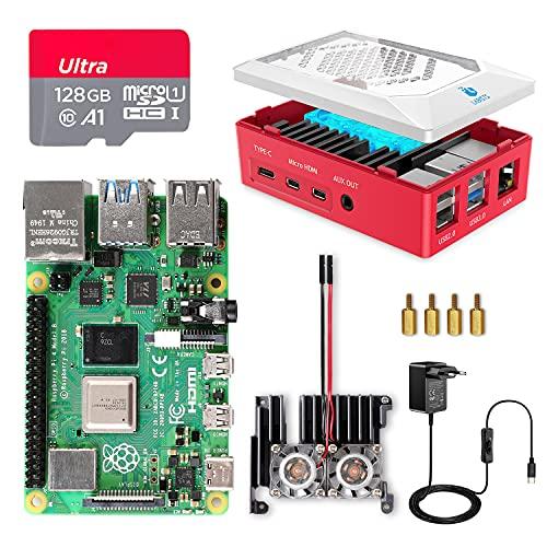 Raspberry Pi 4 8GB con Tarjeta SD 128GB Precargada con Raspberry Pi OS, Cable 5V 3A con ON/Off, 2 Micro HDMI, Un Gran Disipador de Calor, 2 Ventiladores, Caja Roja y Lector de Tarjetas