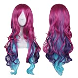 AneShe Cosplay Wigs for Women Hot Pink Mixed Blue Long Wavy Wig Harajuku Style Heat Resistant Hair Full Wigs