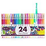 Glitter Gel Pens Colored Fine Tip Markers with 40% More Ink for Adult Coloring Books, Drawing, Bullet Journal, and Doodling (24 Colors)