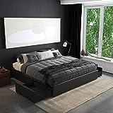 DHP Maven Platform Storage, King Size Frame, Black Upholstered Beds, Faux Leather