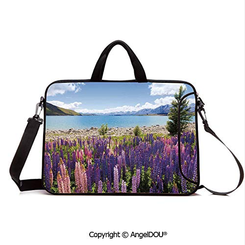 AngelDOU Neoprene Printed Fashion Laptop Bag Field of Lupin Wildflowers on The Shore of Lake Tekapo New Zealand Idyllic Scene Notebook Tablet Sleeve Cases Compatible with Lenovo Asus Acer HP Multic