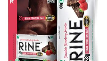 Rine Bars High Protein Sugar Free Bars for Workout & Snacks (23 gm Protein), Chocolate Strawberry Surprise (Pack of 6)