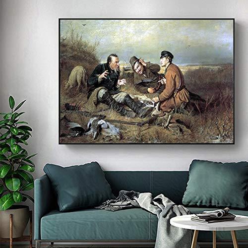 ganlanshu Realista Famoso Cacciatore di Poster in Stile Sta riposando L'Arte sulla Tela per la...