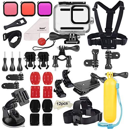 Deyard 52 in 1 Kit Accessori per GoPro Hero 8 Black, Case Impermeabile 3 Filtri Custodia in Gomma Petto/Testa/Polso/Cinghia da Polso Bici/Zaino Auto Clip