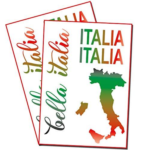 Finest Folia Bella Italia Aufkleber Set Italien für Auto Bus Wohnwagen Anhänger Motorrad Kfz Fahrzeug Autoaufkleber Italienische Karte Flagge Selbstklebend (R102 Tricolore)