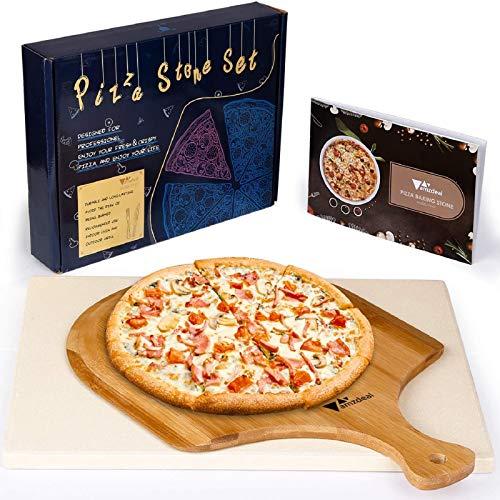 amzdeal Pietra per Pizza con Spatola e Ricetta in Legno, Pietra Refrattaria Cucina per Pizza 38cm x 30cm x 1,5cm Adatta per Forno, Ideale per Cucinare Pizza, Pane, Torte, ECC.