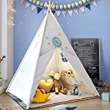 Teepee Play Tent for Kids with Gifts Star Lights, Coloured Flag, Feathers, Carry Case, Indoor Outdoor Playhouse for Baby Toddler