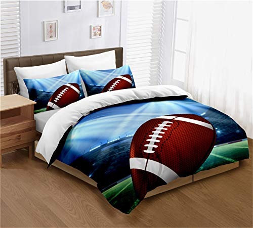ayigu American Football Duvet Cover Set 3D Sports Rugby Duvet Cover for Men Teens Boys Kids Full Size 3 Piece Bedding Sets with 2 Matching Pillowcases (No Comforter)