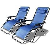 VOUNOT Chaise Longue inclinable Bleue en textilene
