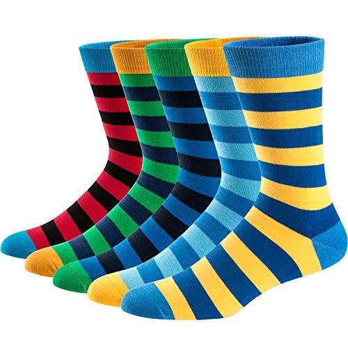 Ueither Calze da Uomo Coloratissimi in Cotone Stilisti Calzini Fantasia dal Design Comodo, Colore Multicolore, 42- 48 EU