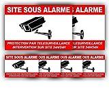 Autocollants Vidéosurveillance (x 6) + plastification de Protection Anti...