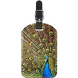 Etiquetas de Equipaje Etiquetas de Maleta de Viaje de Cuero de Pavo Real Azul 1 Paquete