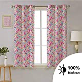 Baby -Room Blackout Window Panel Curtains Kawaii Bunnies Ice Cream and Candies Doodle Style Cartoon Drawing Abstract -Thermal Insulated Drapes for Kitchen W63 x L72 Inch Pink Turquoise Mustard
