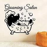 WERWN Tienda de Mascotas salón de Pared de Vinilo Etiqueta de la Pared Perro Mascota salón de Perros Thriller de Halloween Etiqueta de la Pared Smiley Boca Grande