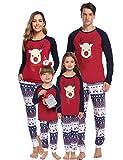 Aibrou hommes Ensemble de pyjamas Noël famille femmes Cerf Hauts et pantalons longs vêtements de nuit rouge L