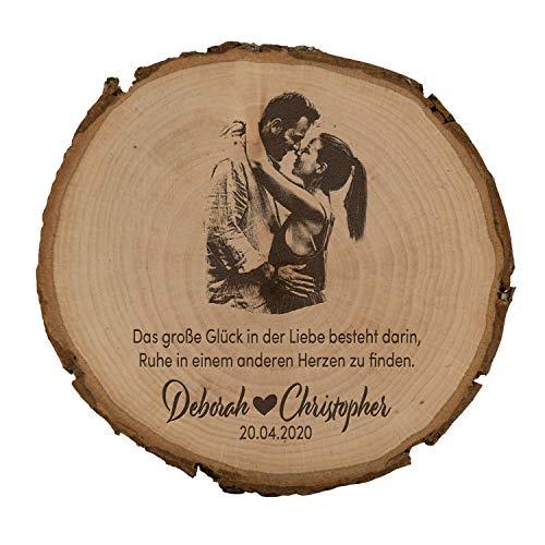 unique present® Baumscheibe mit Fotogravur - Motiv Großes Glück - Schönes Geschenk mit Foto auf...