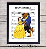 Beauty and Beast Sheet Music - Wall Art Print - Ready to Frame (8X10) Photo - Perfect Gift For Boys and Girls Rooms, Nursery, Disney World Fans - Disneyworld - Great For Home Decor