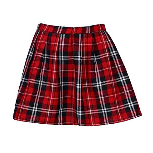 Gusspower Falda a Rayas, Mini Falda Mujer Plisada Escocesa Elegante Alta Cinturilla Elástica de Encaje Doble de la Colegiala (Rojo, M)